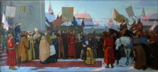 историческая картина - Встреча воеводы Скопина-Шуйского и Делогарди в Москве царём Василием Шуйским и боярами