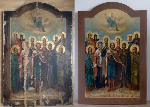 """Реставрация иконы """"Собор Александра Невского"""""""
